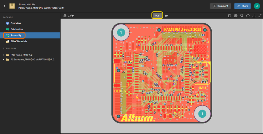The Assembly page of the Viewer. Shown here is the PCB data view – hover over the image to see the 3D data view.