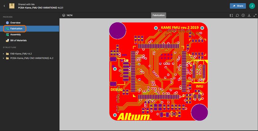 Страница Fabrication со встроенным средством просмотра файлов Gerber. Здесь показано изображение, где включены все слои Gerber. Наведите курсор мыши на изображение, чтобы увидеть только верхний слой Gerber (.gtl).