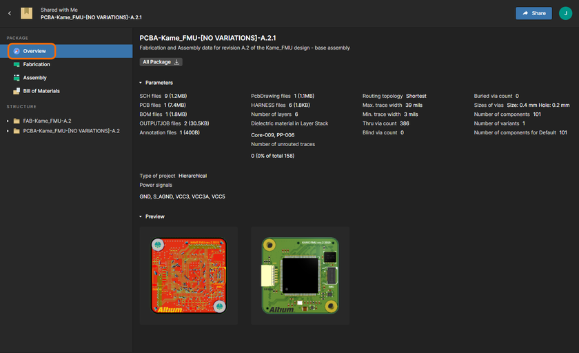 The Overview page, providing a high-level summary of the design.