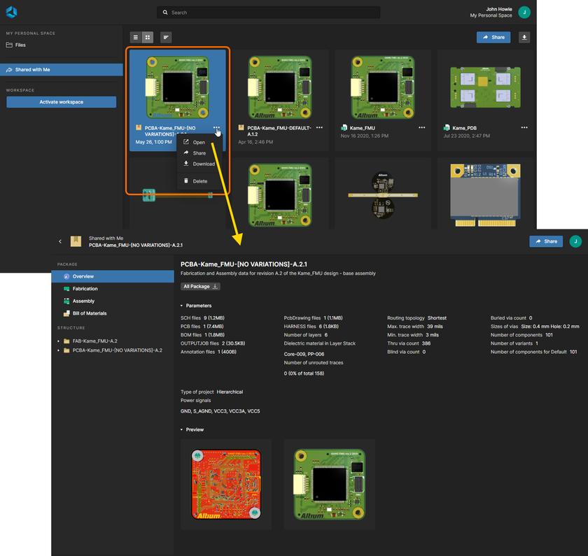 Открытие пакета для производства со страницы Shared With Me интерфейса платформы Altium 365.