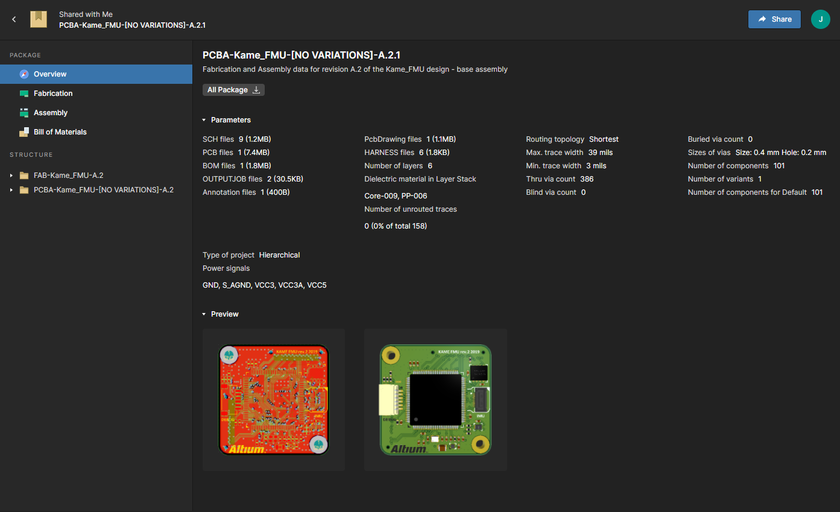 The Altium 365 Platform's Manufacturing Package Viewer provides an interactive means with which your manufacturer can browse and comment on a specific manufacturing package that has been shared with them. Shown here is the Viewer's Overview page – hover over the image to see the Fabrication page, with its Gerber Viewer.