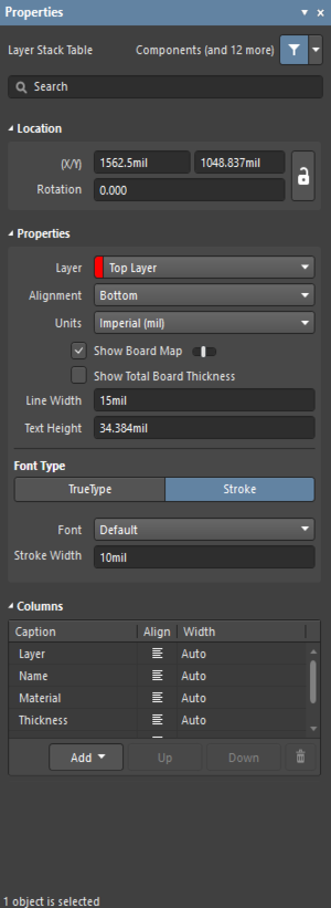 The Layer Stack Table dialog on the left and theLayer Stack Tablemode of thePropertiespanel on the right