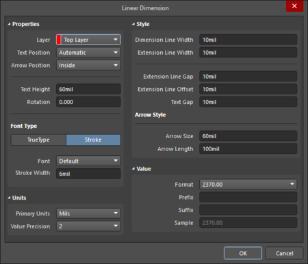 The Linear Dimension dialog on the left and the Linear Dimension mode of the Properties panel on the right