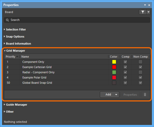 The Grid Manager section of the Properties panel - command central for defining and organizing the  grids for use with your board.