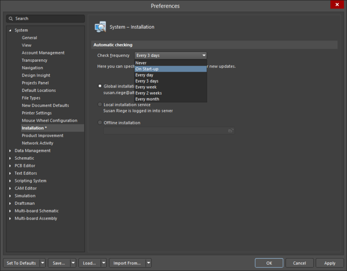 Set how frequently you are notified about new Altium Designer updates.