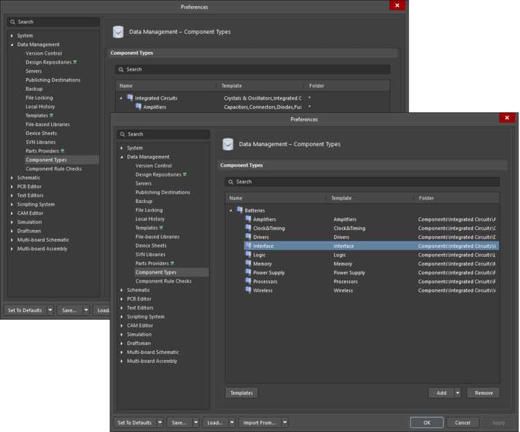 The two iterations of the Data Management - Component Types page of the Preferences dialog; on the left, an iteration in which Component Types have been merged, and on the right, an iteration in which Component Types have not been merged.