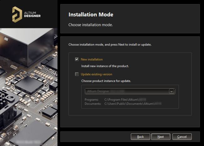 Install a new instance of Altium Designer, or update an existing instance.