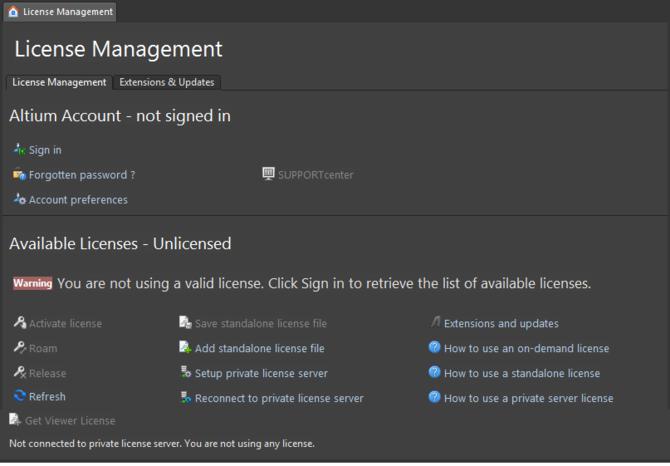The License Management page - command central for getting Altium Designer licensed.