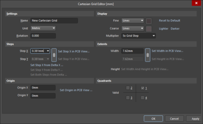 On the left, the Cartesian Grid Editor dialog, if you select a Cartesian Grid from the Grid Manager region of the Properties panel. On the right,a modified version of the Cartesian Grid Editor dialog, available if you select a non-Cartesian Grid, such as a Global Board Snap grid, from the Grid Manager region of the Properties panel.