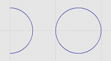 Two placed Arcs (the one on the right is a Full Circle Arc)