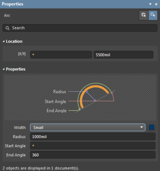 The panel with two arc objects selected. Only the X position and Start Angle properties differand are not editable.