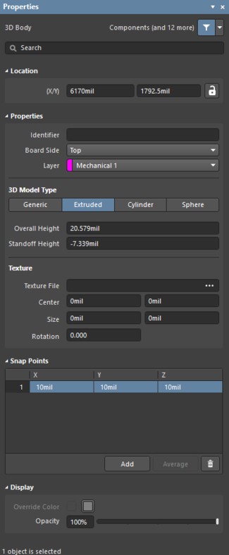 TheComponent Bodydefault settings in thePreferencesdialog and the3D Bodymode of the Properties panel