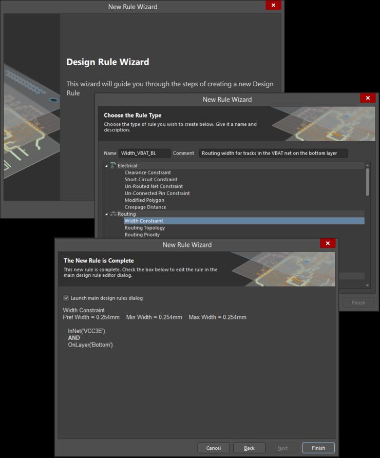 Используйте мастер Design Rule Wizard для последовательного создания правила.