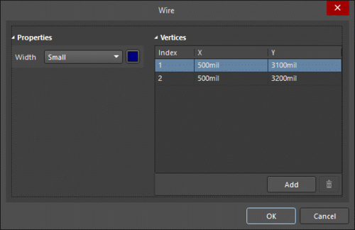 The Wire dialog, on the left, and the Wire mode of the Properties panel on the right
