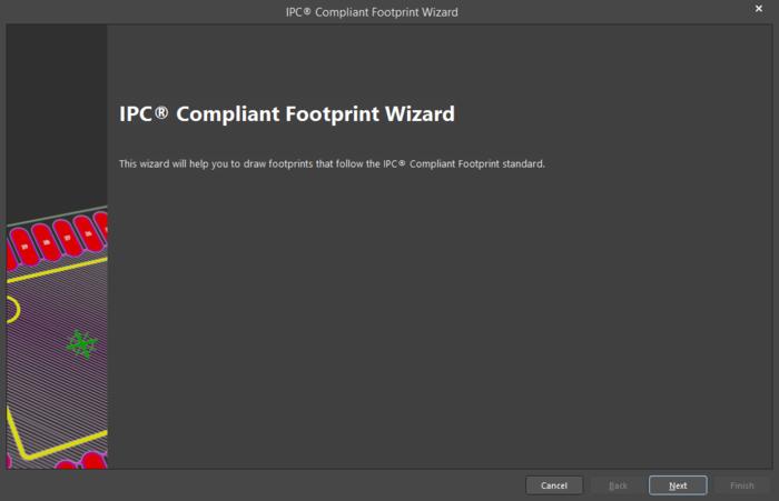 Мастер IPC Compliant Footprint Wizard формирует посадочное место на основе размеров компонента.