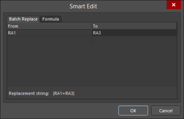 The Batch Replace tab of the Smart Edit dialog