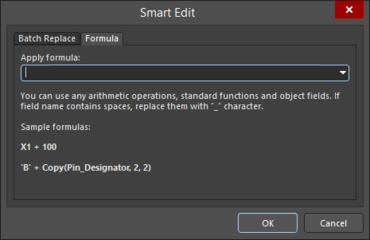 The Formula tab of the Smart Edit dialog
