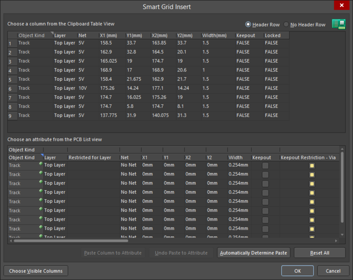 New objects can be added withthe Smart Grid Insertcommand and the subsequent Smart Grid Insertdialog.