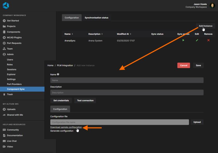 Пример файла конфигурации доступен в Workspace.