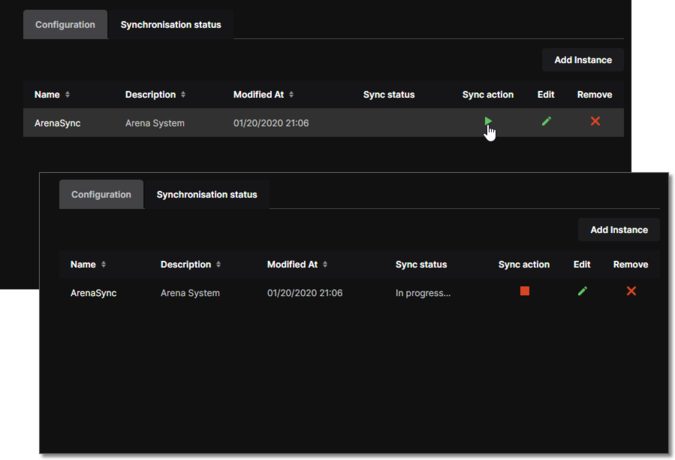 Component synchronization in progress between a Workspace and the indicated enterprise system instance.