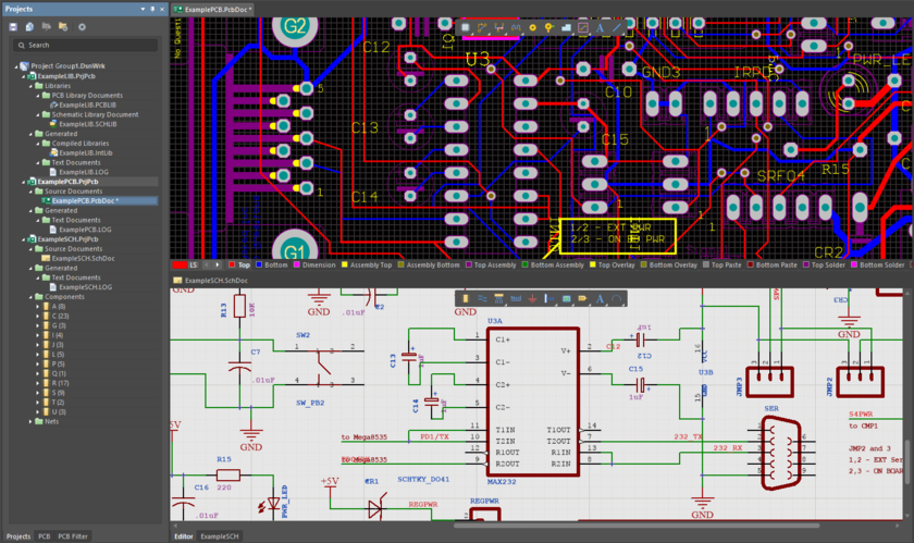 Resulting PCB projects, with opened schematic and PCB documentsafter importing EAGLE .pcb and .sch design files.