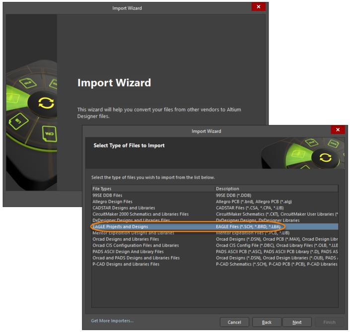 Access the EAGLE Import WizardthroughtheImport Wizarddialog.