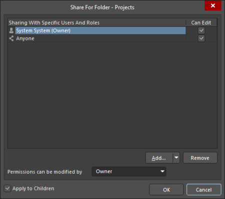 The Sharing Access to a Folder iteration of the Share For dialog