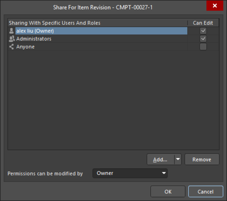 The Sharing Access for an Item Revision iteration of the Share For dialog