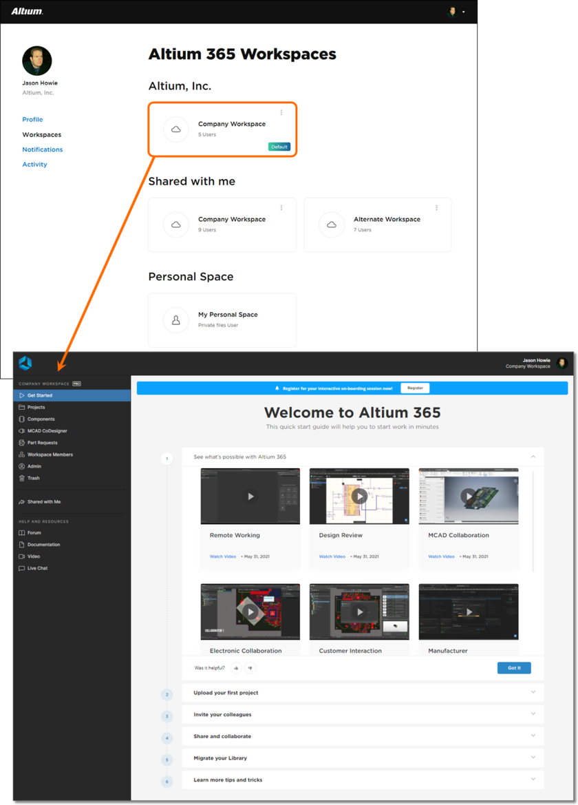 Example access of the Altium 365 Platform Interface, of which the chosen Workspace is a part, indirectly from your AltiumLive Profile page.