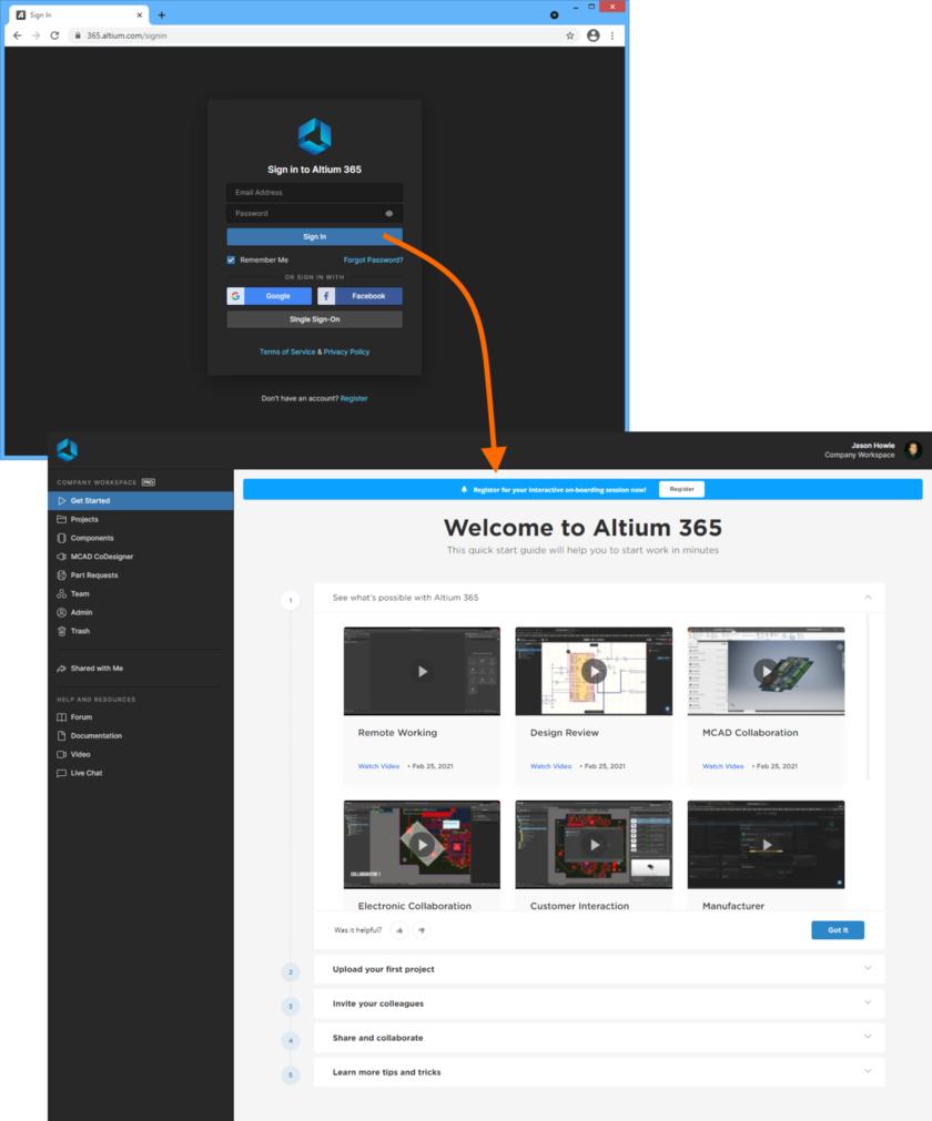Пример доступа к интерфейсу платформы Altium 365 непосредственно через страницу входа в Altium 365.