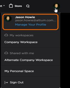 Вы можете открыть свой профиль AltiumLive из меню учетной записи AltiumLive.