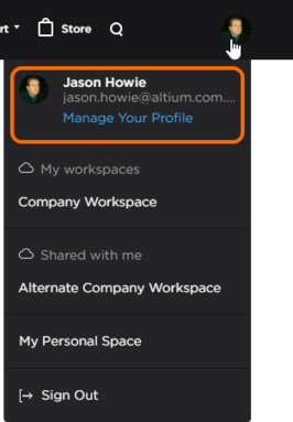 You can access your AltiumLive profile from the AltiumLive account menu.