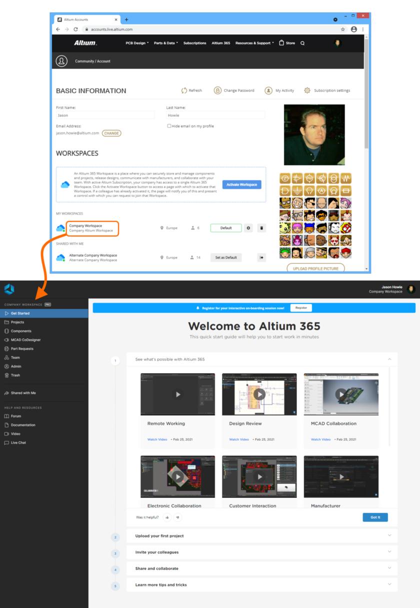 Пример доступа к интерфейсу платформы Altium 365, частью которой является выбранный Workspace, опосредовано со страницы профиля AltiumLive.