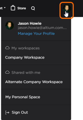 Once signed in, the control changes to your AltiumLive picture and provides access to your AltiumLive account menu.