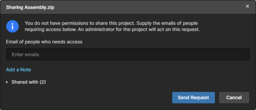 If re-sharing is not permitted, the Share dislog allows you submit a sharing request.