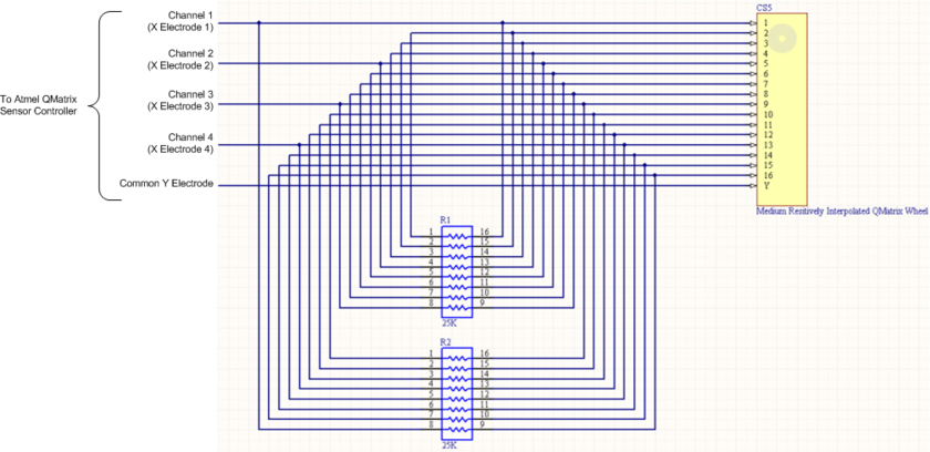 Example of resistors connected to the sensor component to provide the electrical interpolation for the sensor.
