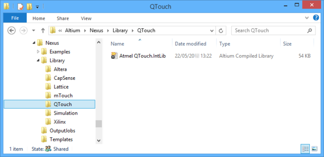 After the installation is updated, the Atmel QTouch integrated library will be available.