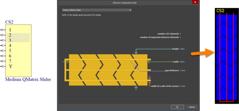Default configuration and resulting sensor pattern for the MediumQMatrixSlider component