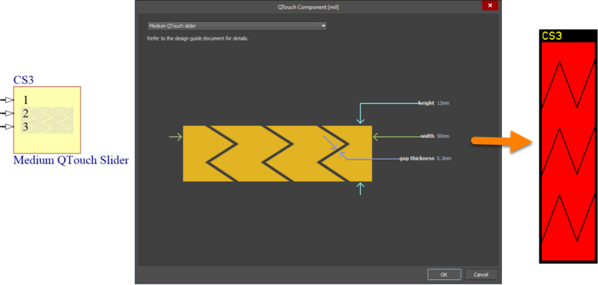 Default configuration and resulting sensor pattern for the MediumQTouchSlider component