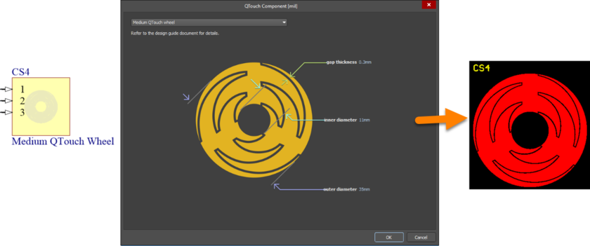 Default configuration and resulting sensor pattern for the MediumQTouchWheel component