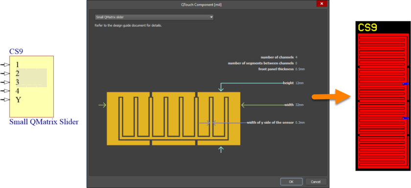 Default configuration and resulting sensor pattern for the SmallQMatrixSlider component