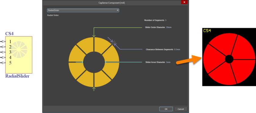Default configuration and resulting sensor pattern for the RadialSlider component