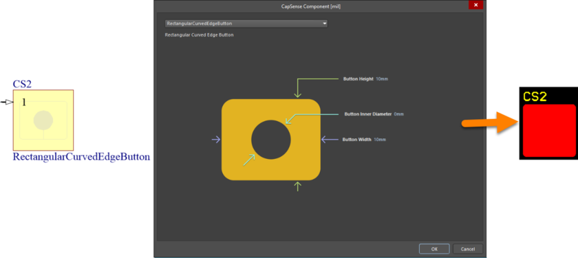 Default configuration and resulting sensor pattern for the RectangularCurvedEdgeButton component