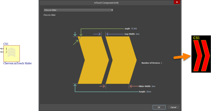 Default configuration and resulting sensor pattern for the mTouchChevronSlider component