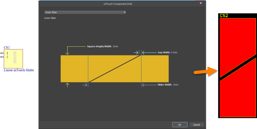 Default configuration and resulting sensor pattern for the mTouchLinearSlider component