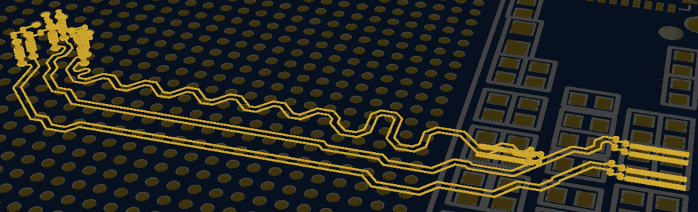 Example of differential routing on a PCB