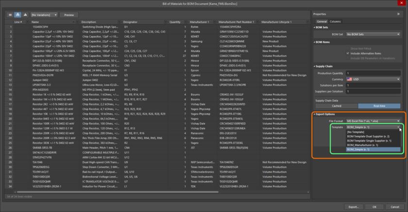 Если существуют объекты BOM Template Item, то они будут представлены при входе на сервер вместо локальных (файловых) шаблонов при настройке отчета о составе изделия.