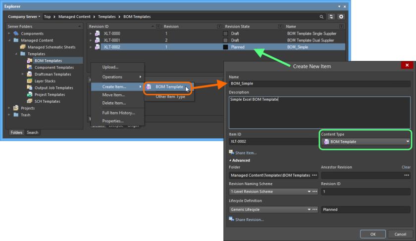 Создание объекта BOM Template Item в папке BOM Templates. Нужный тип содержимого (Content Type) доступен в контекстном меню.