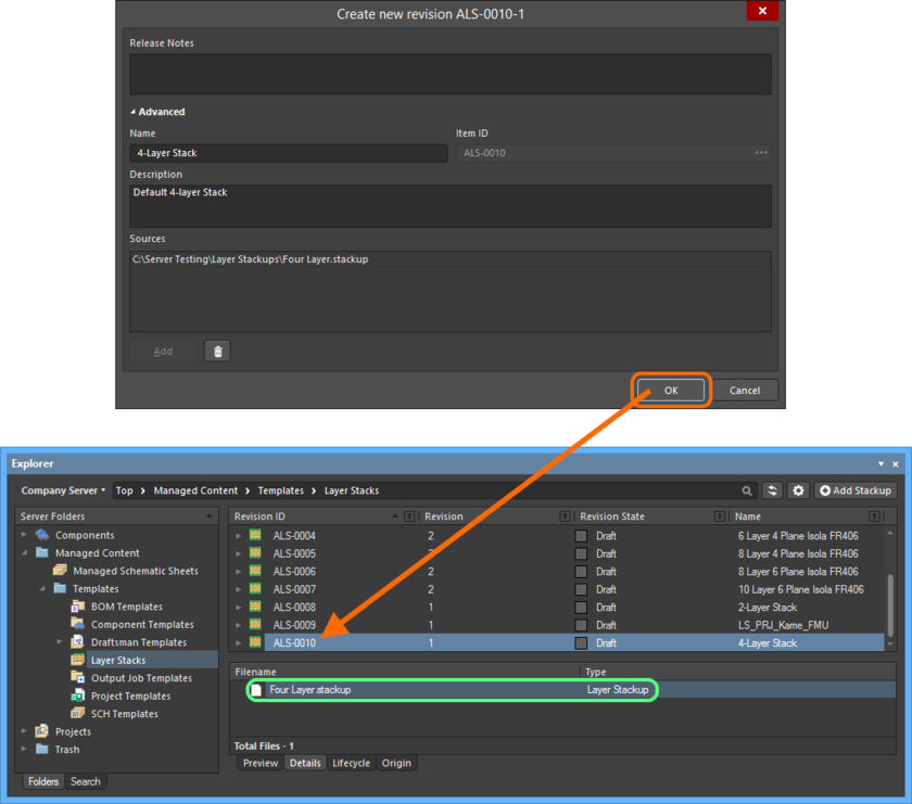 The uploaded file is listed on the Details aspect view tab for the revision of the Layerstack Item.