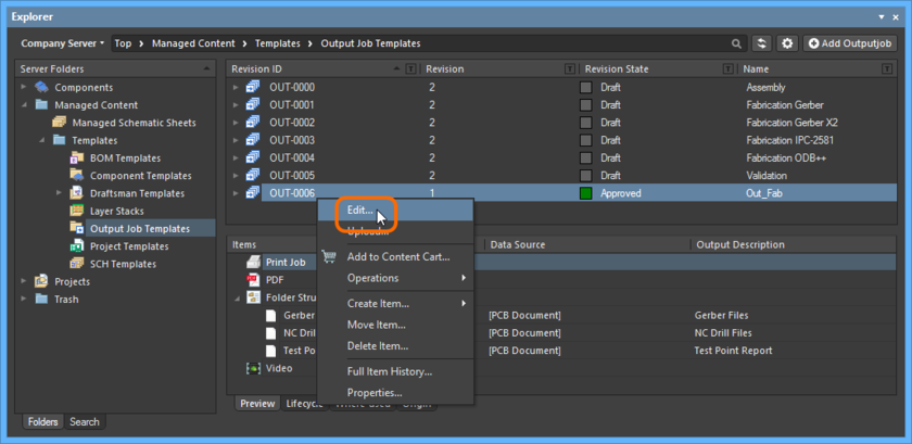 Accessing the command to launch direct editing of an existing revision of an Outputjob Item.